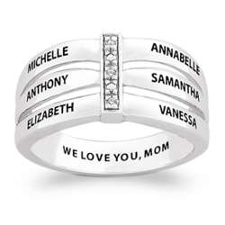 Sterling Silver Family Name Bar Ring with Diamond Accents
