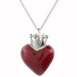 Queen of Hearts Red Enamel Necklace