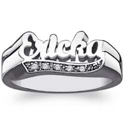 Sterling Silver Script Name Ring with Diamond Encrusted Tail