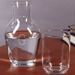 Personalized Bedside Glass Water Carafe