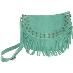 Fringed Suede Cross Body Saddle Bag