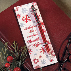 Red and White Christmas Snowflake Pen and Bookmark