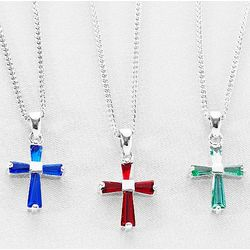 Silver-Plated Baguette Birthstone Cross Necklace