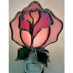 Rose Shaped Stained Glass Night Light