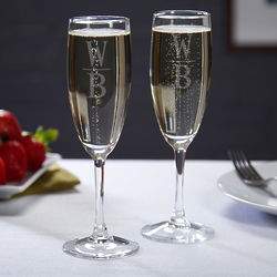 2 Personalized Emile Champagne Flutes