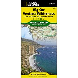 Big Sur, Ventana Wilderness Los Padres National Forest Trail Map