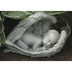 Sleeping Baby in Wings Garden Figure