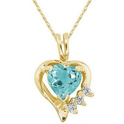 Heart Shape Blue Topaz Gemstone & Diamond Pendant