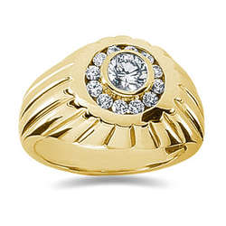 0.48 ctw Men's Diamond Ring in 14K Yellow Gold