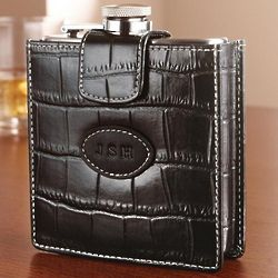Personalized Croc Design Leather Flask
