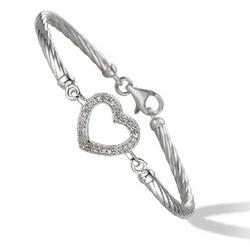 Twist Design Diamond Heart Bangle