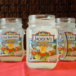 Personalized BBQ Fire Mason Jar Set