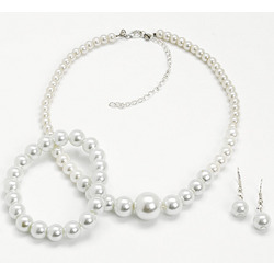 Faux Pearl Necklace, Bracelet and Earrings Set