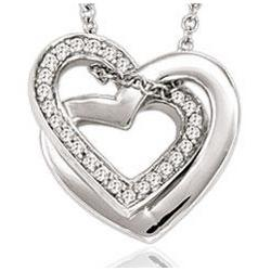 14K White Gold Couple Diamond Heart Necklace