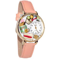 Dessert Lover Whimsical Watch in Large Gold Case