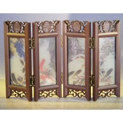 Mini Shoji Screen with Glass Framed Pictures of Japanese Koi