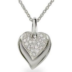 Sterling Silver and Pave CZ Layered Heart Pendant