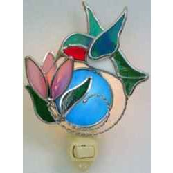 Stained Glass Ruby Throated Hummingbird Nightlight