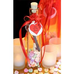 Valentine's Day Romantic Message in Bottle with Candy Hearts