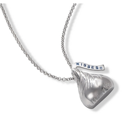 Large Hershey's Kiss Pendant and Necklace in Sterling Silver