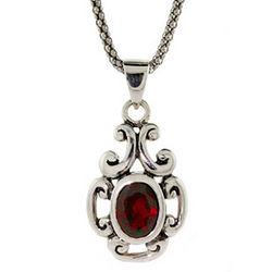 Garnet CZ Sterling Silver Bali Style Pendant Necklace