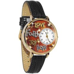 Faith Hope Love Joy Watch in Large Gold Case