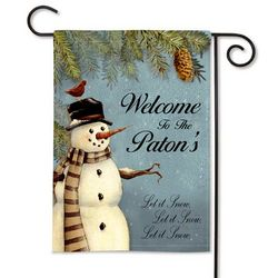 Personalized Snowman 2 Sided Garden Flag