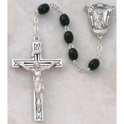 Oval Black Wood Rosary