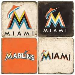 Miami Marlins Tumbled Italian Marble Coasters