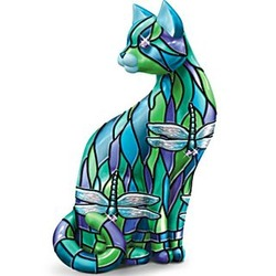 Dragonfly Stained-Glass Cat Figurine