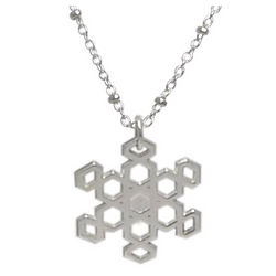 Silver Snowflake Pendant with Solid Center