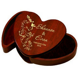 Solid Rosewood Valentine's Day Heart Box