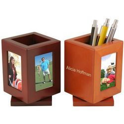 Engraved Wood Photo Frame Pencil Cup