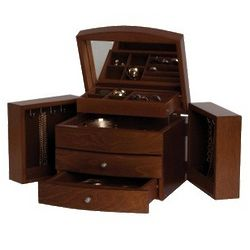 Leyton Wooden Jewelry Box in Antique Walnut Finish