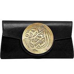 Le Icon Happiness Medallion Black Leather Clutch