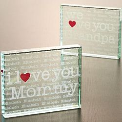 Personalized I Love You Two-Sided Glass Block