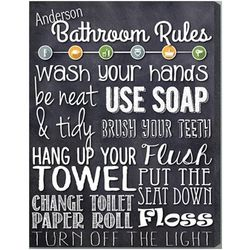 Bathroom Rules Personalized 14x18 Black Canvas Print