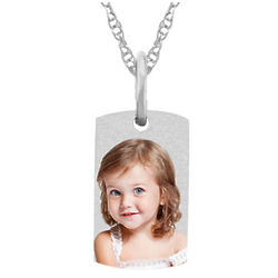 Tiny Photo Dog Tag Necklace in White Gold