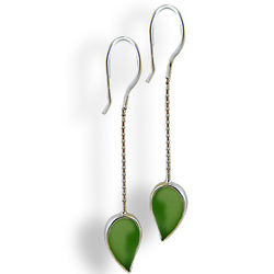 Green Leaf Sea Glass Earrings