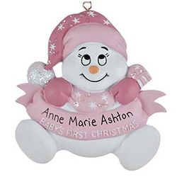 Personalized 1st Christmas Snow Baby Ornament