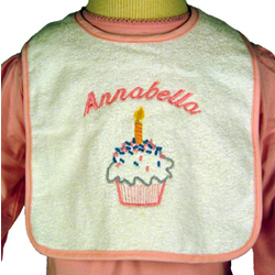 Personalized Baby Girl First Birthday Bib with Cupcake Design