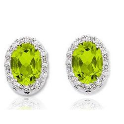 14k White Gold Peridot Diamond Earrings