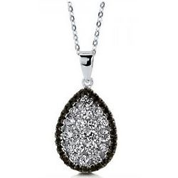 Silver White Cubic Zirconia Pear Pendant Necklace