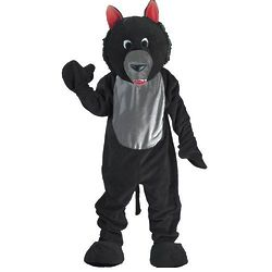 Adult Black Wolf Mascot Costume
