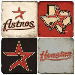 Houston Astros Tumbled Italian Marble Coasters