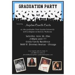 Blue and Black Graduation Party Personalized Invitation