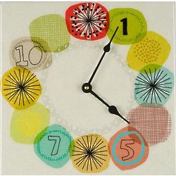 Retro Circles Square Wall Clock