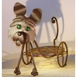 Metal Dog Garden Pot Holder with Moving Head and Tail.