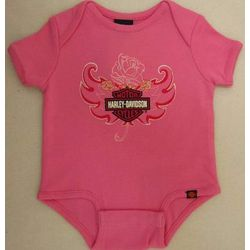Pink Harley Davidson Newborn and Infant Creeper