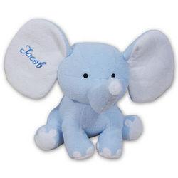 Embroidered Blue Plush Elephant Stuffed Animal